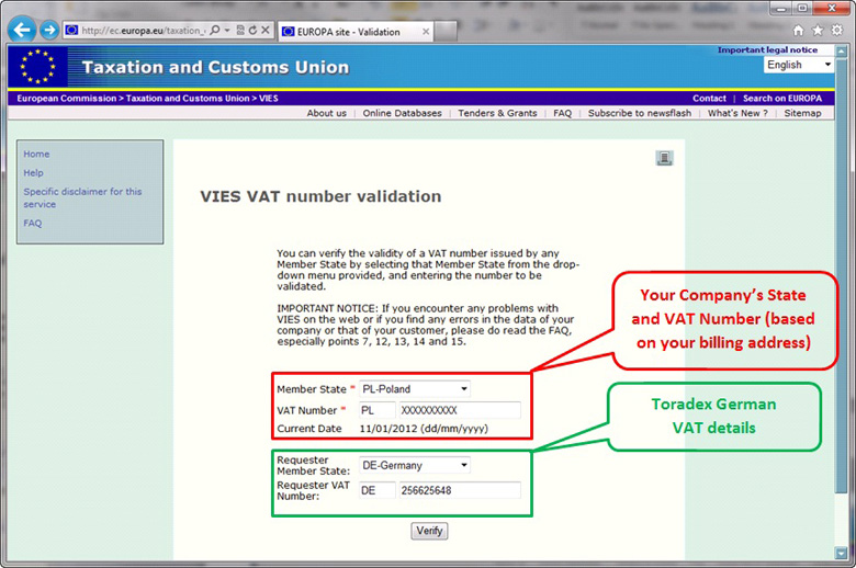 Vat number check