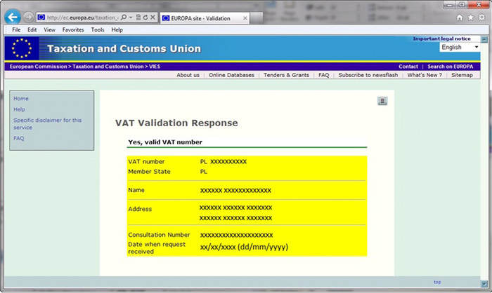 VAT Check Result