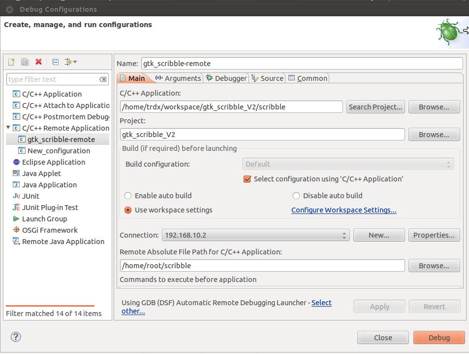 Debug Configuration, Main Tab