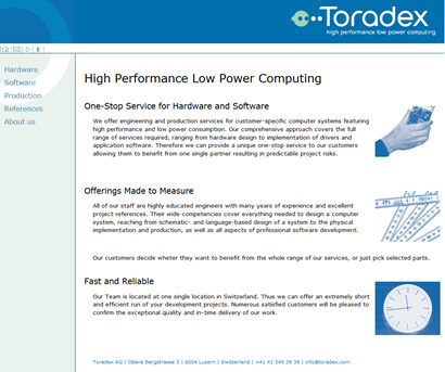 Toradex Webpage 2004 - Engineering Services