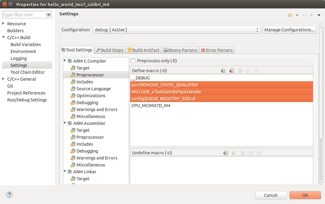 DS-5 OS Awareness Preprocessor Configuration