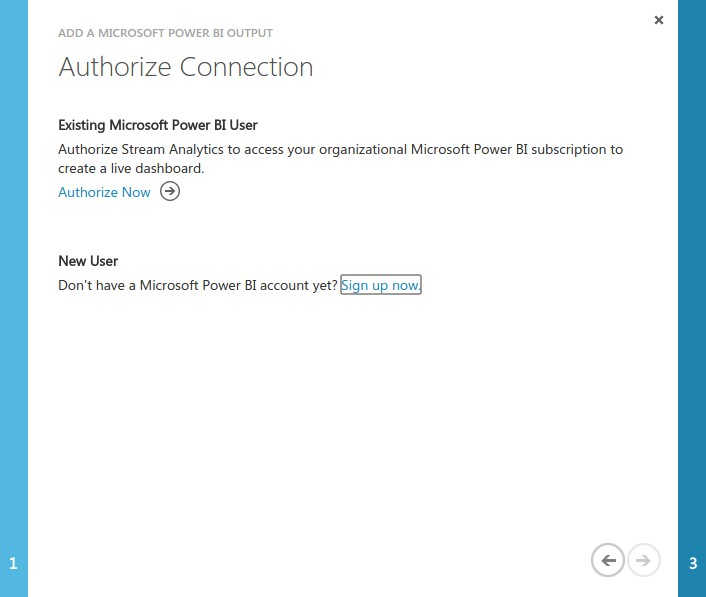 Authorizing the Power BI as a Stream Analytics output