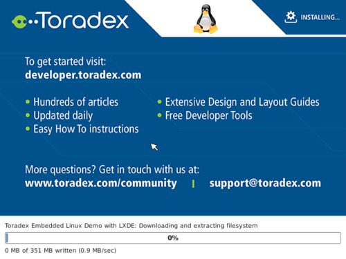 Toradex image being downloaded and installed