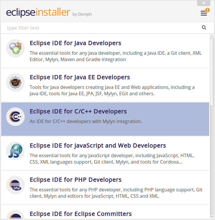 Available Eclipse IDEs - select the C/C++ IDE
