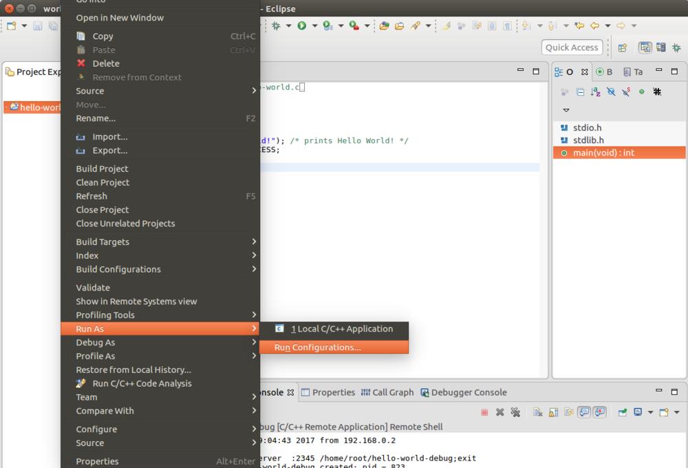 Configure the run options