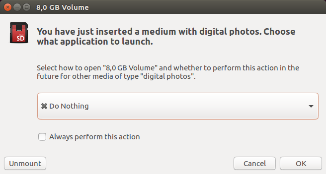 Select *do nothing* after SD card insertion