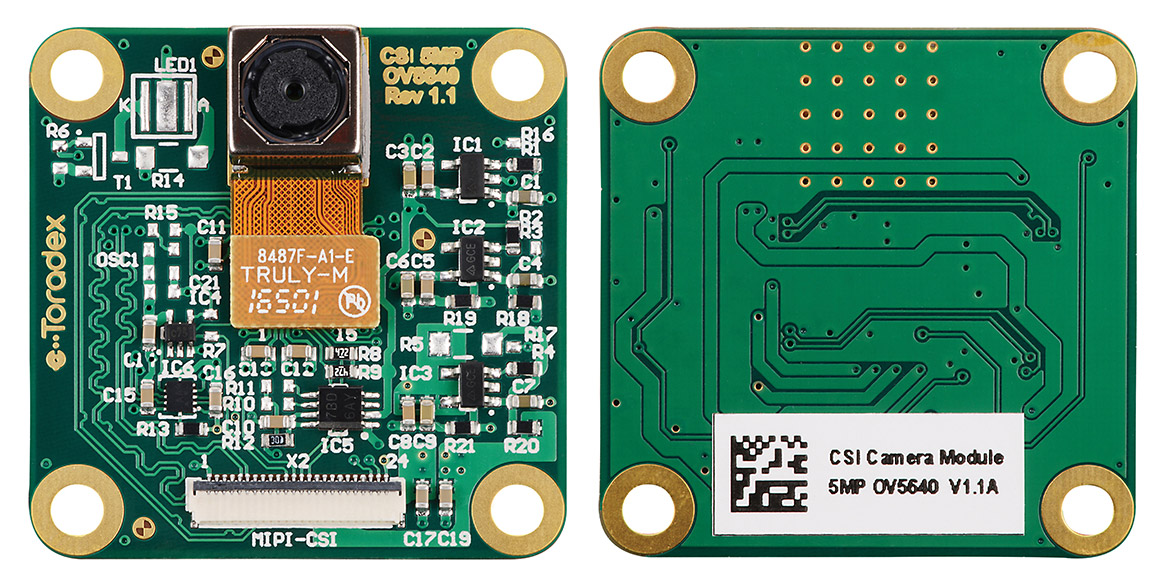 OV5640 5MP CSI camera module; front and back views
