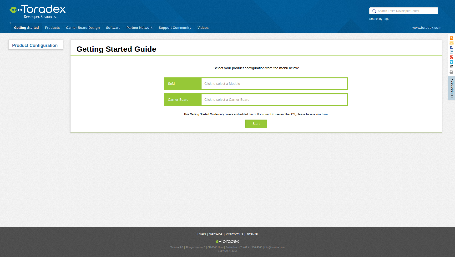 Getting Started tab