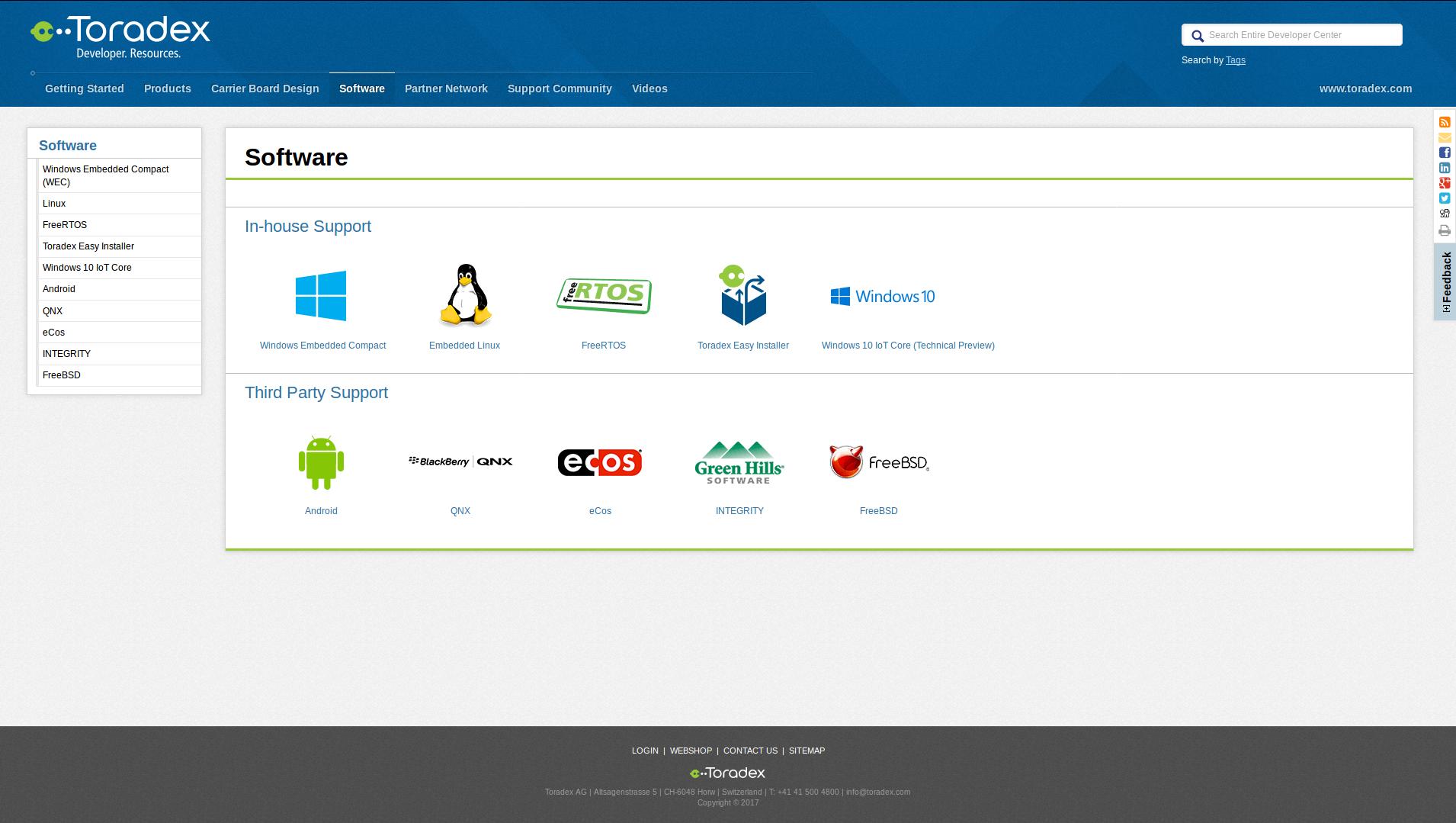 Software tab