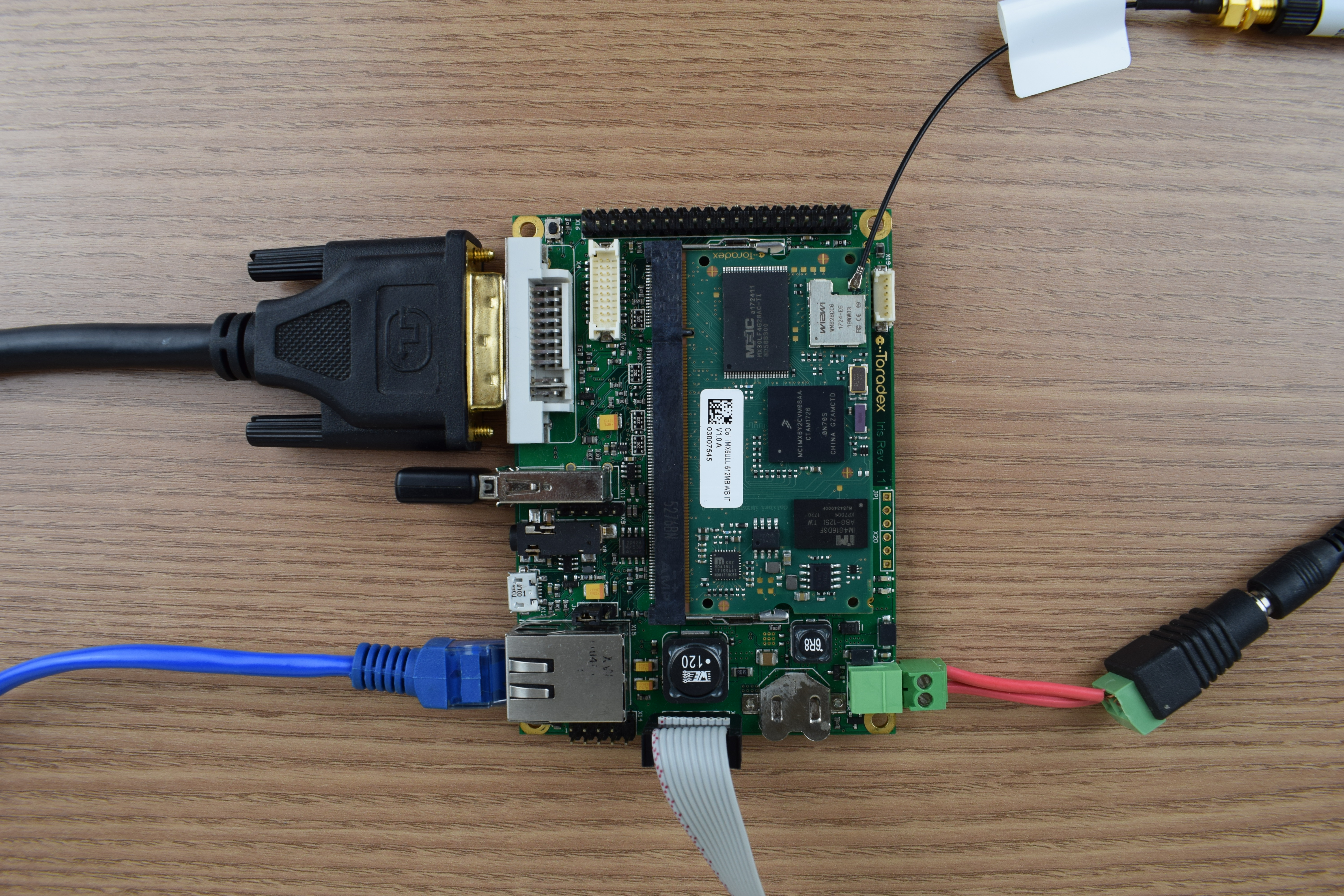 DVI to VGA adapter, Ethernet, USB keyboard and power supply connected to the Iris Carrier Board
