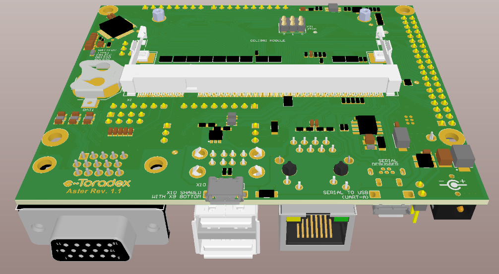 Toradex Carrier Board Illustration - Bottom View