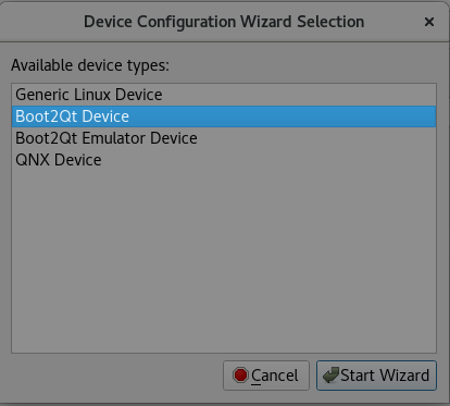 Device Configuration Wizard Selection