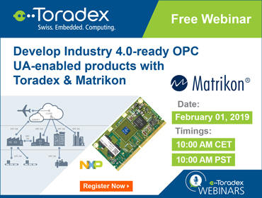 Develop Industry 4.0-ready OPC UA-enabled products with Toradex & Matrikon