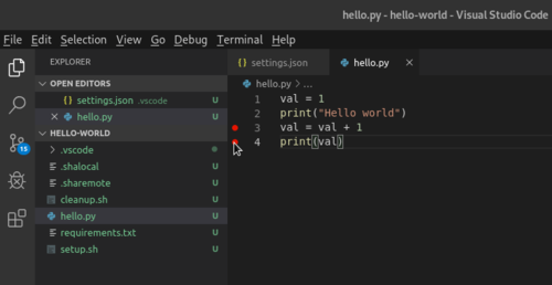 VS Code Breakpoints