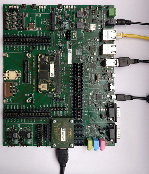 HDMI, Ethernet, USB keyboard and power supply connected to the Verdin Development Board