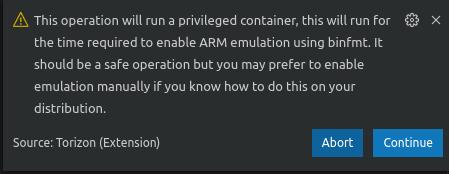 Continue arm emulation