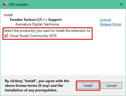 Select Visual Studio version and install