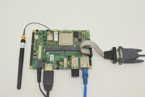 HDMI, Ethernet, USB keyboard and power supply connected to the Ixora Carrier Board