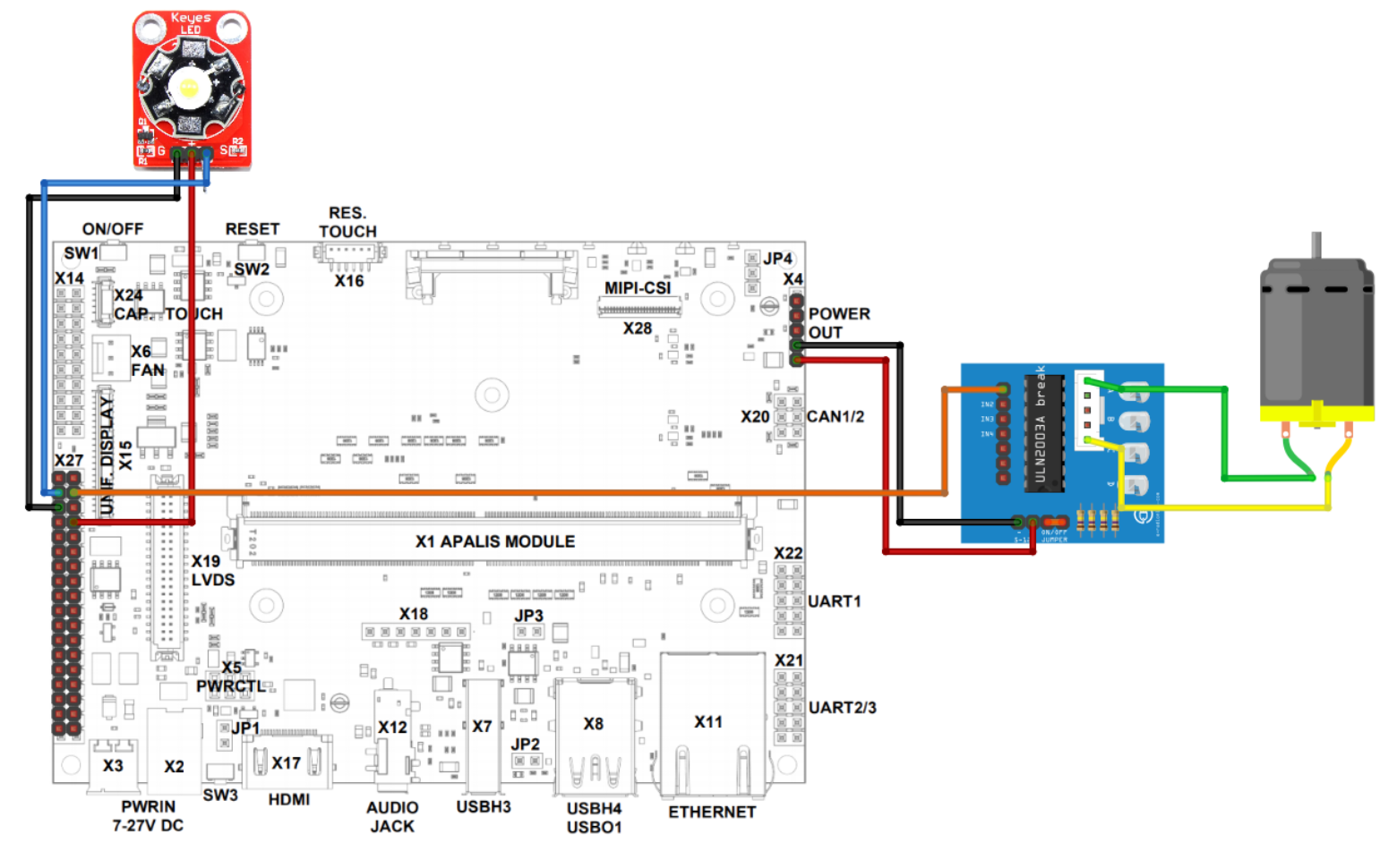Connect DC Motor Driver and 3W LED to Ixora