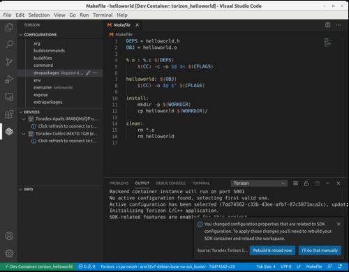 Prompt to rebuild SDK container