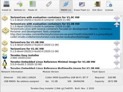 Torizon Image for Colibri iMX8X V1.0B
