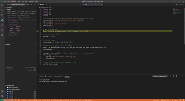 Python CAN Demo Application Debug With Torizon Extension On Visual Studio Code