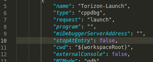 Screenshot of stopAtEntry defined as false on .vscode/launch.json