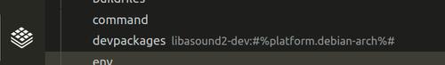Screenshot of libasound2-dev:#%platform.debian-arch%# added to devpackages entry on Torizon Tab