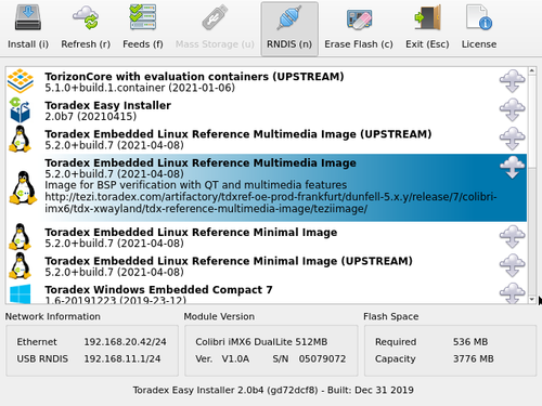 Install Toradex Embedded Linux Reference Multimedia Image